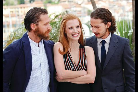 Tom Hardy, Jessica Chastain and Shia LaBeouf at the photocall for John Hillcoat's Lawless